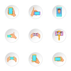 Photo on mobile phone icons set, cartoon style
