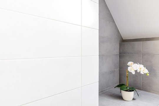 Bathroom with white wall tiling