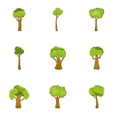 Abstract tree icons set, cartoon style