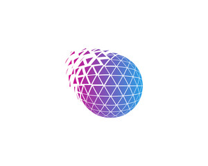 Globe Triangle Sphere Spark Icon Logo Design Element