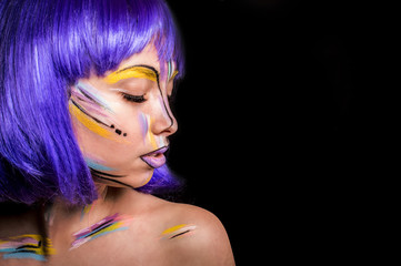 Bright body art make-up