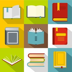 Library icons set, flat style