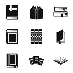 Books icons set, simple style