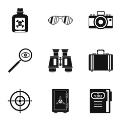 Surveillance icons set, simple style