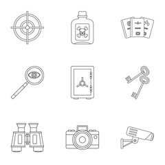 Secret agent icons set, outline style