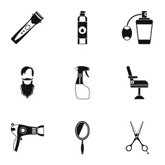 Barbershop icons set, simple style