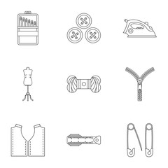 Tools for sewing dresses icons set, outline style