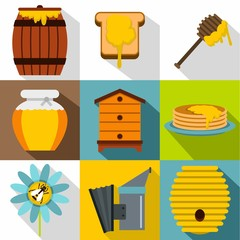 Honey production icons set, flat style