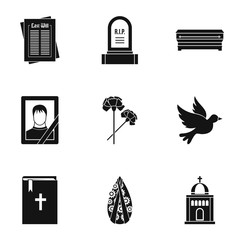 Death icons set, simple style