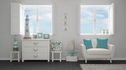 Mediterranean white living, panoramic windows, summer hotel resort interior design