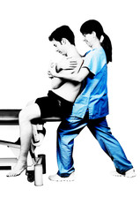 Physiotherapist is doing a global dorsal manipulation for male patient  in silhouette studio on white background
