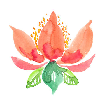 Abstract warm orange flower with yellow pollen and green leaves painted in watercolor on clean white background