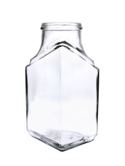 Empty glass jar with edges on a white background