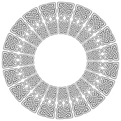Mandala style Celtic style endless knot symbols in white with  black stroke inspired by Irish St Patrick's Day, and Irish and Scottish carving art