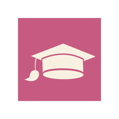 flat graduation cap icon education, vector illustration design