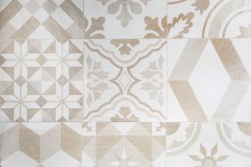 Beige Moroccan tiles, ornaments, mosaic floor texture