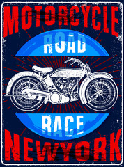 Vintage Motorcycle hand drawn vector tee graphic design