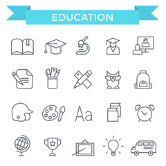 Education icons, thin line, flat design