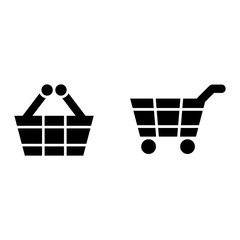 shopping basket - white vector icon