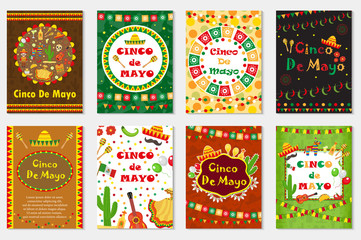 Cinco de Mayo set greeting card, template for flyer, poster, invitation. Mexican celebration with traditional symbols. Collection  with bunting, sambrero, tequila, cactus, maracas. Vector illustration