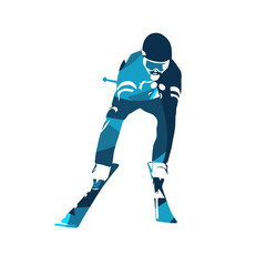 Downhill skier, abstract blue vector silhouette. Front view