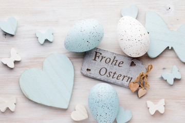 Fototapeten Narzisse Easter decorations on a beautiful background. Greeting Card.