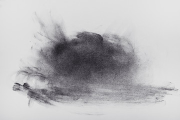 Black and white chalk drawing on paper-smeared spot, backgrounds, textures