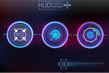 Abstract background with different elements of the hud. Hud elements. Vector illustration. Head-up display elements for Info-graphic elements.