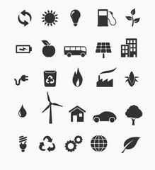 Renewable energy icon set
