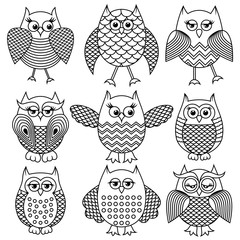 Nine cartoon funny owl outlines