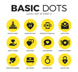 Love flat icons vector set