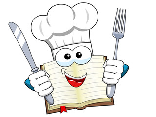 Cook book mascot hat fork and knife isolated