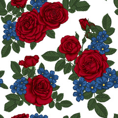 beautiful vintage seamless pattern with bouquets of red roses and leaves.
