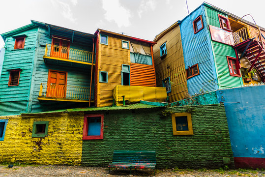 Traditional colorful houses on Caminito street in La Boca neighborhood, Buenos Aires