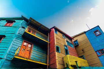 Acrylic Prints Buenos Aires Traditional colorful houses on Caminito street in La Boca neighborhood, Buenos Aires