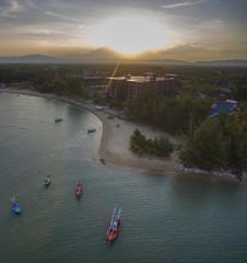 aerial view of sunset sky at klong warn prachuap khiri khan southern of thailand