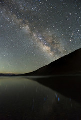 Landscape with blue Milky Way at Pangong Tso , Long exposure photograph. with grain