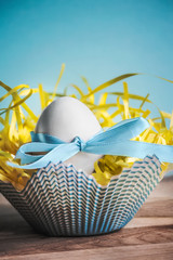 Easter egg nestled on a bright blue background