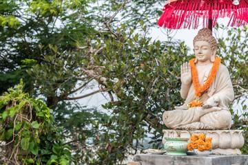 Buddha statue buddha image used as amulets of Buddhism religion. Tropical island Bali, Indonesia. North of Bali.
