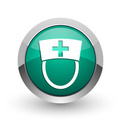Nurse silver metallic chrome web design green round internet icon with shadow on white background.