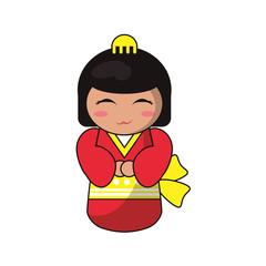 cute kokeshi doll tradition japanese vector illustration eps 10