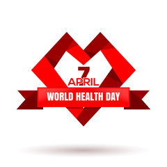 Heart logo with ribbon for World Health Day. April 7. Vector illustration