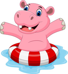 Cartoon hippo with inflatable ring