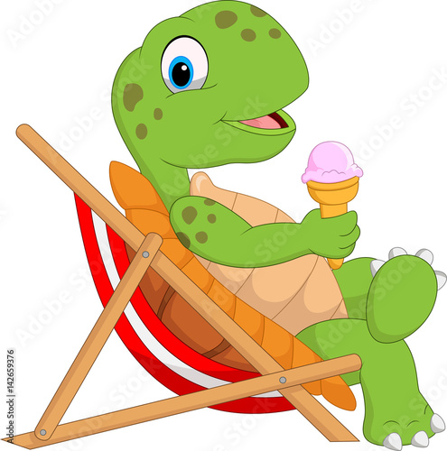 Cartoon Turtle Sitting On Beach Chair And Holding An Ice Cream
