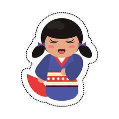 doll japanese kokeshi geisha kimono vector illustration eps 10