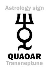 Astrology Alphabet: QUAOAR (Transneptune), Large massive planetoid (TNO). Hieroglyphics character sign (single symbol).