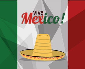 viva mexico greeting flag hat concept vector illustration eps 10