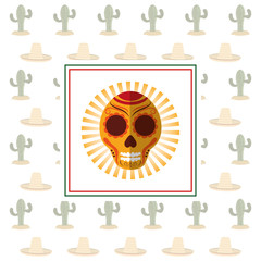 mexican card skull cactus celebration vector illustration eps 10