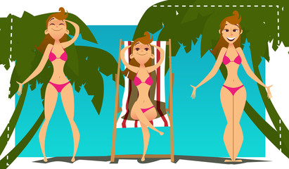 Young woman in bikini on sunny beach