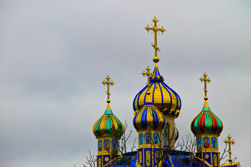 Gold-plated domes of the Orthodox church